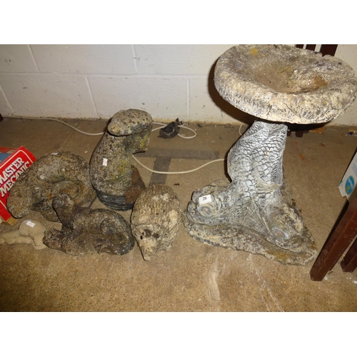 20 - Selection of garden ornaments; 4x Otters: 2x Large 2 small, Hedgehog ornament, fish bird bath...