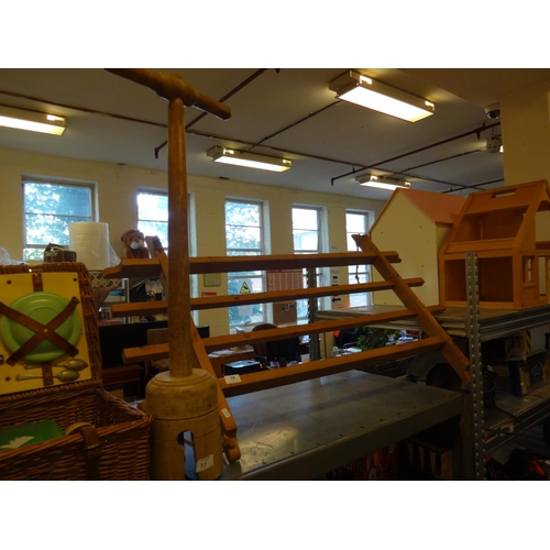 35 - Wooden washing dolly and wooden hanger...
