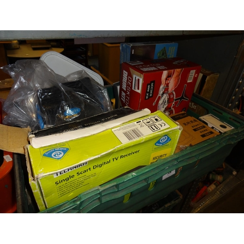 38 - Green crate of boxed items includes Technika digital tv receiver, fan blower videowave DV suite for ...