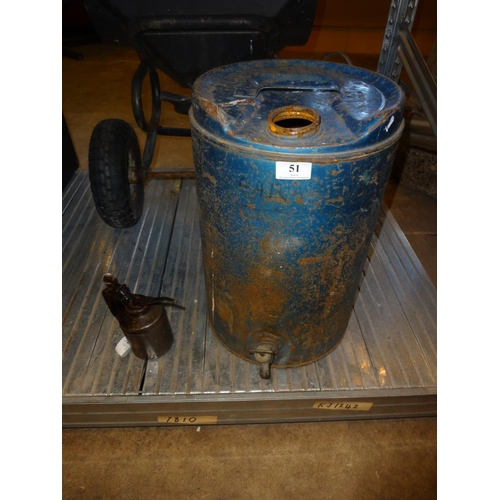 51 - Large oil drum and oil can...