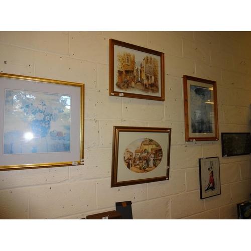 19 - 6x Assorted pictures, market scenes, dancers etc...