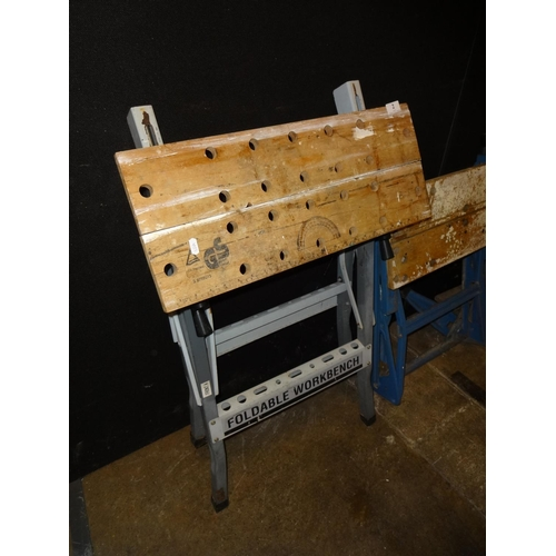 2 - Vintage workmate style folding workbench...