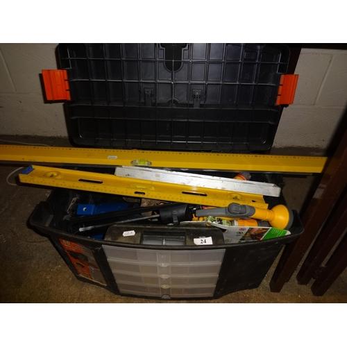 24 - Box including aluminium levels, sealant gun, laser edge and multi spray...