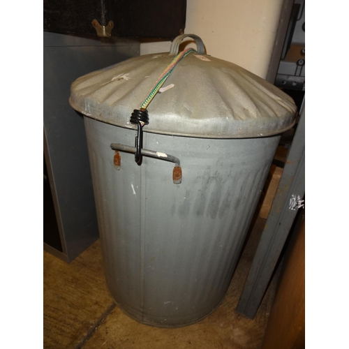 32 - Galvanised dustbin with lid...