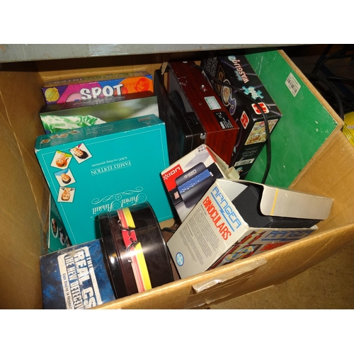 40 - Large box of vintage board games plus other items...