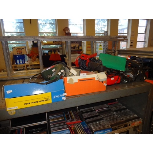 46 - Black and Decker sander plus Hitachi sander, Bosch drill, Rapesco nails, wood planer and more...