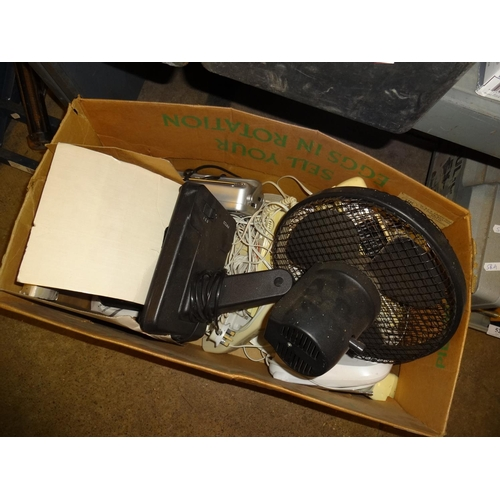 51 - Box of electrical phones, fan etc...