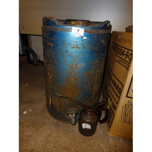 9 - Large oil drum and oil can...