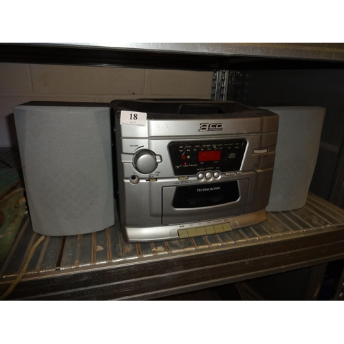 18 - Technosonic stereo system, three cd charger, radio and cassette deck...
