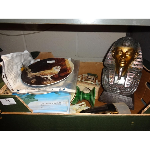 34 - Box of odds including picture plates, Egyptian figurine and more...