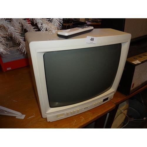 48 - Vintage white portable tv...