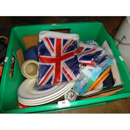 50 - Green box of various items; Plates, Buntin, vases...