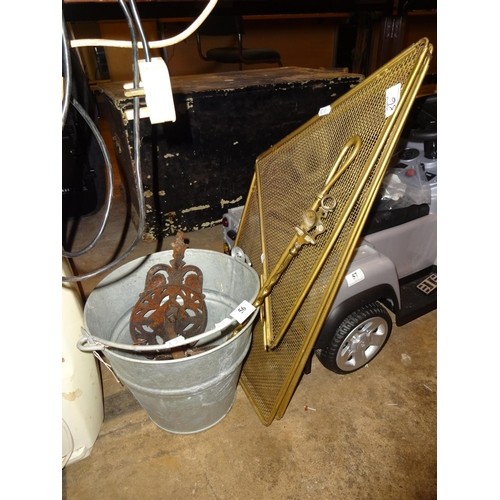 56 - Vintage fire guard, bucket, toasting fork and poker...