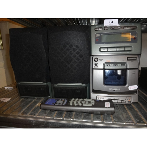 14 - Grundig UMS 5 music system with remote control, not tested sold as seen...