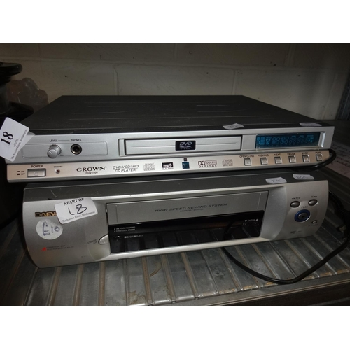 18 - Daewoo VCR player plus a crown DVD/CD player not tested sold as seen...