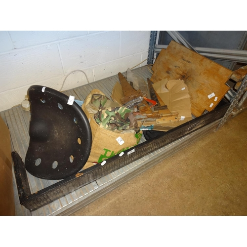 19 - Mixed lot of various items; Wooden fire fender, chopping board, plastic tractor seat and a bag of ca...