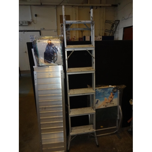 2 - Set of metal ladders, 5 rung...