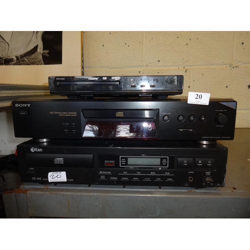 20 - 2x CD players and a DVD player not tested sold as seen...