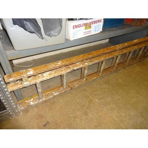 26 - Large 15 rung extending wooden  ladder...