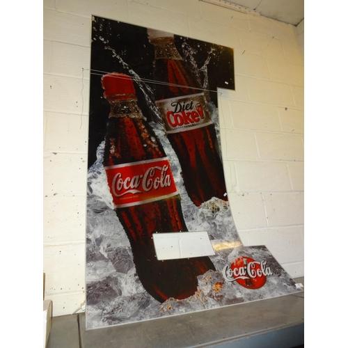 27 - Coca Cola machine front perspex sign 174cm x 100cm...