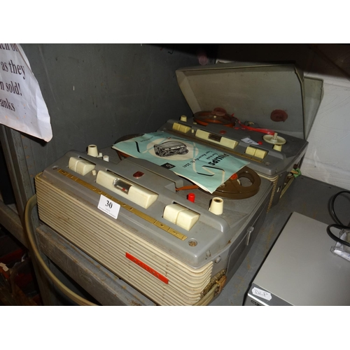 30 - 2x Philips vintage reel to reel tape recorders...
