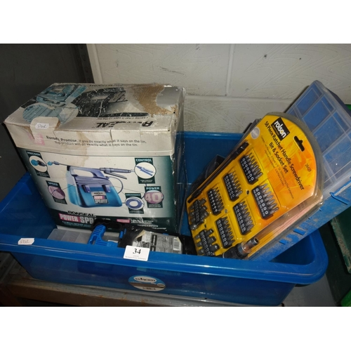 34 - Blue plastic crate containing Ronseal power sprayer plus a smalll quantity of tools still sealed, no...