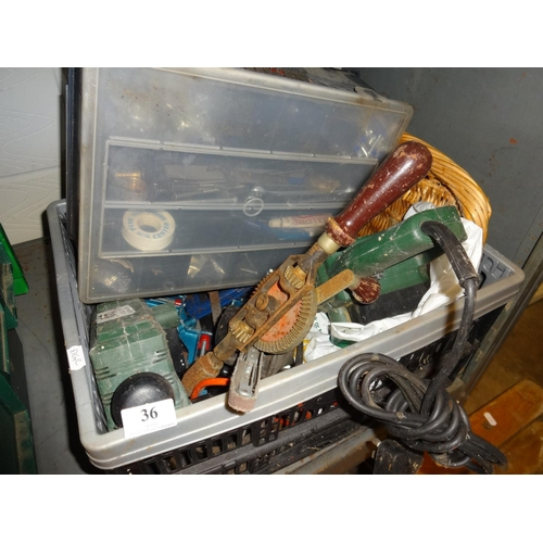 36 - Grey and black crate of electrical and other tools not tested...