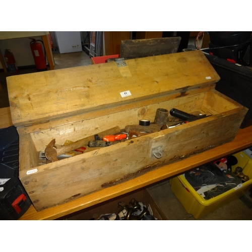 41 - Wooden tool box and contents...