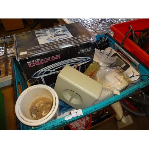 47 - Blue crate containing various items includes infinite circulon cradle with butane burner, radio, mon...