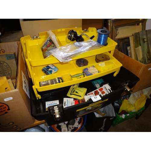 53 - Yellow and black Stanley tool box containing various items of fishing tackle including a reel...