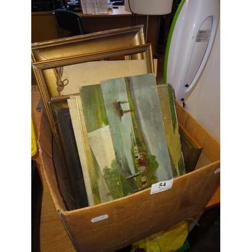 54 - Box of antique and vintage picture frames and unframed pictures...