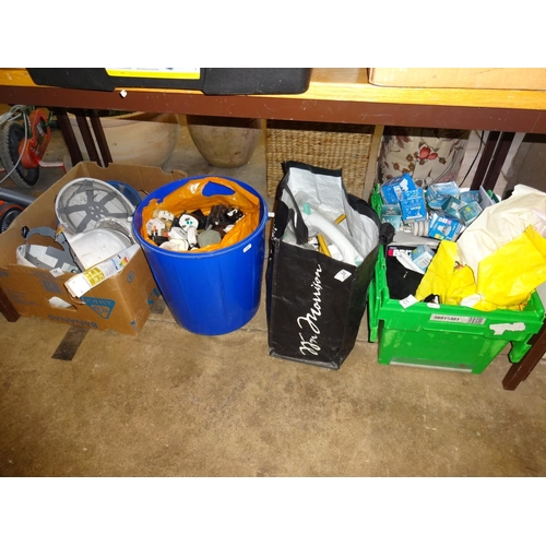 55 - Tools and hardware including bulbs, MCB breakers, handtools, sockets plus a bucket of plugs, halogen...