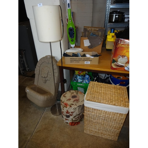 57 - Modern standard lamp, linen basket and a box...
