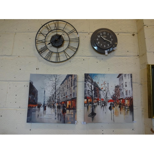 7 - 2x Screen print Paris scene pictures plus 2x modern wall clocks, one is Thomas Kent, London...