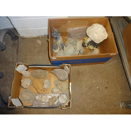 9 - 2x Boxes of small stone garden ornaments...