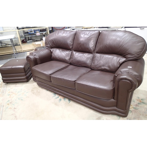 742 - Modern brown leather three seater sofa and stool...