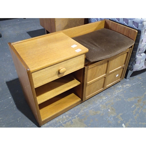 750A - Nathan telephone table with single drawer, two shelves and a side cupboard...