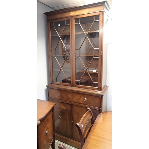 721 - Heath and Rackstraw of High Wycombe secretaire bookcase with astragal glazed doors and cupboard belo...