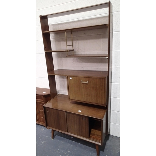 729 - G Plan room divider with sliding cupboards, down cupboard and shelves W: 91 cm...