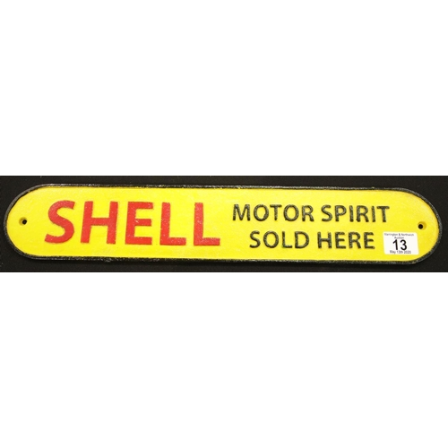 7 - Cast iron Shell Motor Spirit sign L: 50 cm. P&P Group 2 (£18+VAT for the first lot and £2+VAT for su...