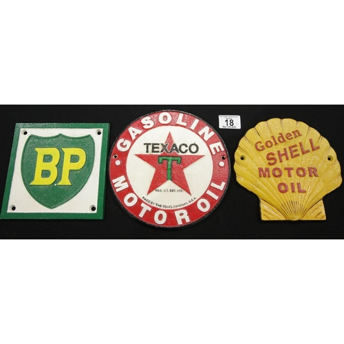 12 - Three cast iron signs Texaco, BP and Shell Texaco. P&P Group 2 (£18+VAT for the first lot and £2+VAT...