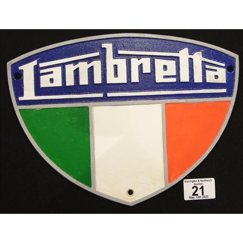 15 - Cast iron Lambretta sign W: 28 cm. P&P Group 2 (£18+VAT for the first lot and £2+VAT for subsequent ...