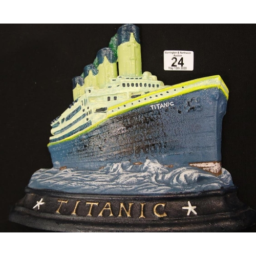 9 - Large cast iron Titanic doorstop H: 26 cm. P&P Group 2 (£18+VAT for the first lot and £2+VAT for sub...