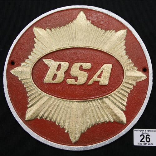 21 - Cast iron BSA sign D: 24 cm. P&P Group 2 (£18+VAT for the first lot and £2+VAT for subsequent lots)...