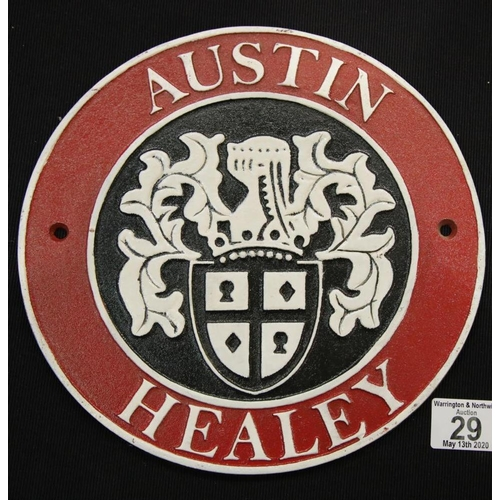 20 - Cast iron Austin Healey sign D: 24 cm. P&P Group 2 (£18+VAT for the first lot and £2+VAT for subsequ...