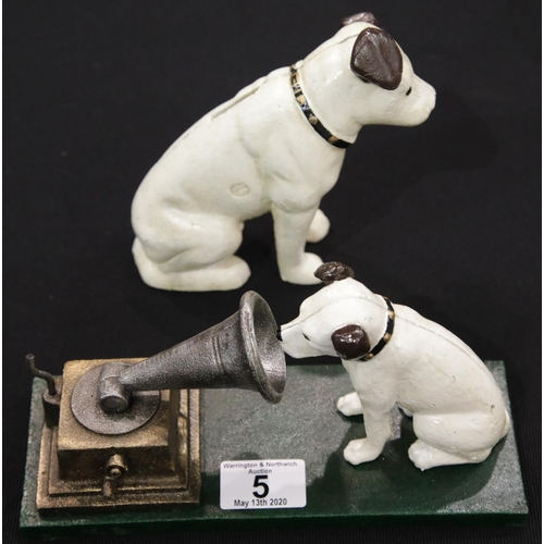 2 - Cast iron Nipper moneybox & Nipper with gramophone moneybox H: 14 cm. P&P Group 2 (£18+VAT for the f...
