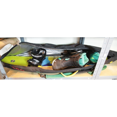 34 - Flying V snowboard with size UK 6 boots by Script and a travel bag.This lot is not available for in-...