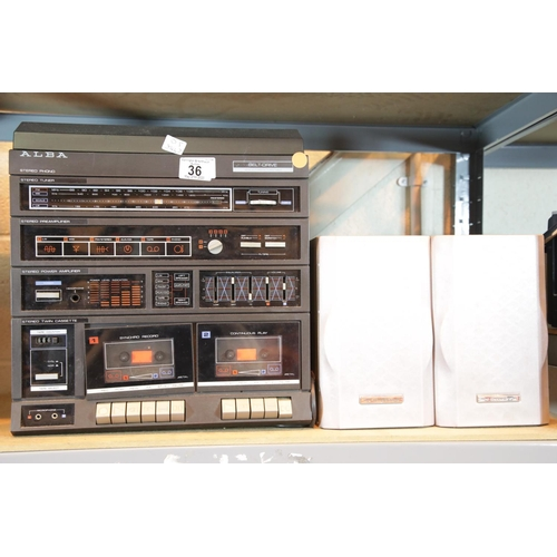 36 - Alba belt driven music system and a pair of speakers. This lot is not available for in-house P&P, pl...