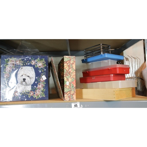 45 - Shelf of wooden and other storage boxes. P&P Group 2 (£18+VAT for the first lot and £2+VAT for subse...