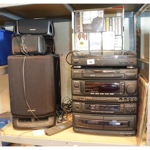 49 - Aiwa HiFi system, cassette, radio, triple CD, record player, five speakers an a Z-2300 karaoke facil...